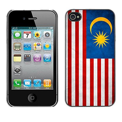 Omega Case PC Polycarbonate Cas Coque Drapeau - Apple iPhone 4 / 4S ( Malaysia Grunge Flag )