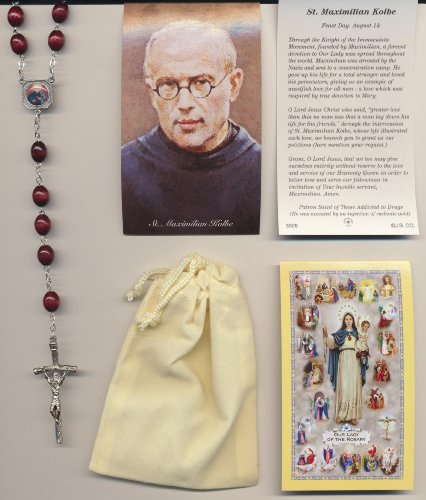 Saint Maximilian Kolbe Reddish Brown Relic Rosary and Two Holy Cards with Velour Bag Patron of Drug Addiction Free Cross Bookmark with Order