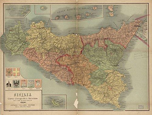 Map: 1900 Sicilia carta corografica stradale|Italy|Road Roads|Sicily|Topographic s