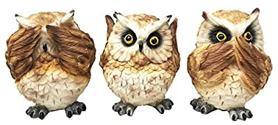 Ancient Transient Wisdom Of The Forest See Hear Speak No Evil Great Horned Owls Figurine Set Owl Collectible Sculptures