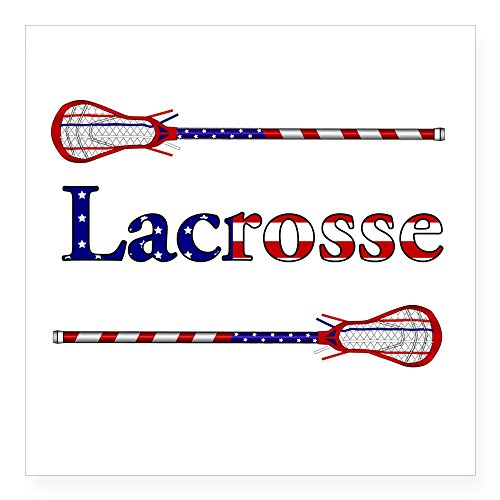 "CafePress - Lacrosse Stars And Stripes Square Sticker 3"" X 3"