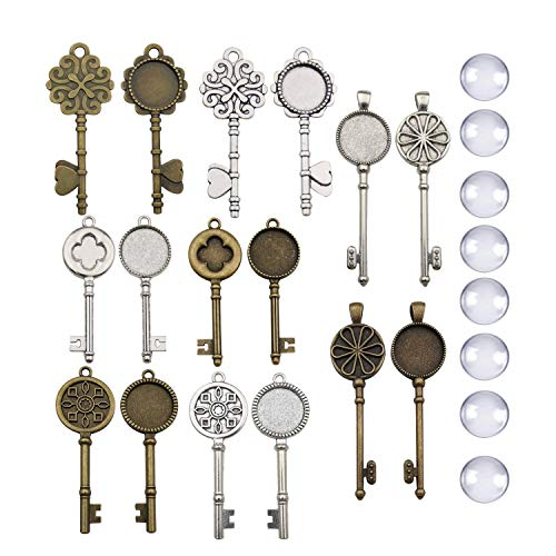 - 32pcs (16 Sets) Mixed Antique Silver Bronze Key Bezel Pendant Trays Base Cabochon Settings Trays Pendant Blanks for Jewelry Making DIY Findings M320