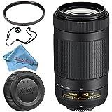 Nikon AF-P DX NIKKOR 70-300mm f/4.5-6.3G ED VR Lens + 58mm UV Filter + Fibercloth + Lens Capkeeper Bundle