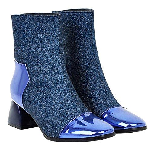 Aiyoumei Vrouwen Glitter Lage Hak Casual Booties Herfst Winter Solide Enkellaars Blauw