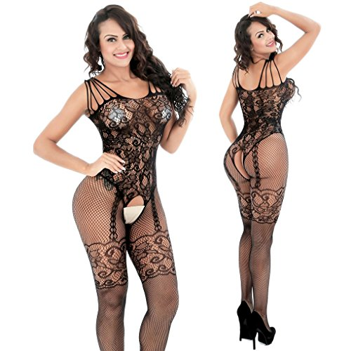 Allory Sexy Floral Crotchless Mesh Fishnet Bodystocking Open Crotch Lingerie for Women