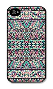 Iphone 4s Case Generic Pink Turquoise Girly Aztec Andes Tribal Pattern Black PC Hard Case For Apple Iphone 4S