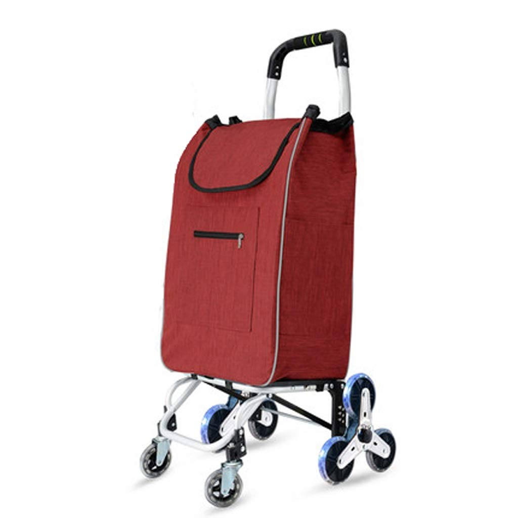 Lxrzls Shopping Cart, Small Hand Truck, Climbing Floor Folding Portable Household Cart Trolley Folding Shopping Trolley (Color : Red)