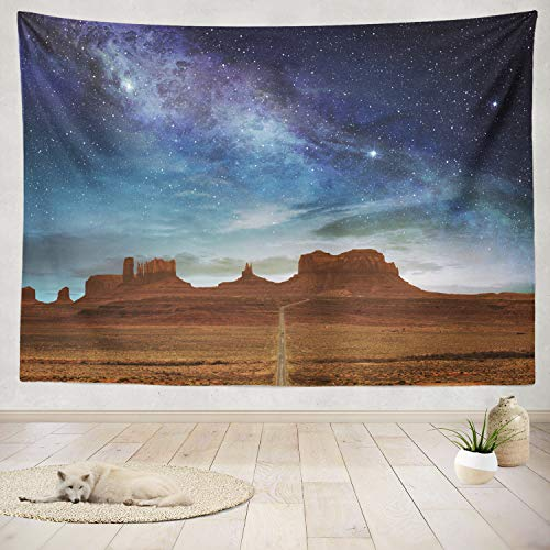 ASOCO Tapestry Wall Handing Scenic Route Valley Night Starry Sky Desert Night Landscape USA Starry Sky Wall Tapestry for Bedroom Living Room Tablecloth Dorm 60X80 Inches