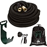 All New Improved 75 Ft Expanding Garden Hose, The Strongest Expandable Hose Triple Layer Latex Core, Solid Brass Fitting Shut Off Valve and Tough Polyester Fabric, Metal Sprayer and Plastic Holder