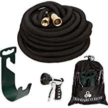 New Improved 2018 100 Ft Expanding Garden Hose, the Strongest Expandable Hose Triple Layer Latex Core, Solid Brass Fitting Shut Off Valve and Tough Polyester Fabric, Metal Sprayer and Plastic Holder