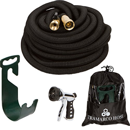 All New Improved 50 Ft Expanding Garden Hose, The Strongest Expandable Hose Triple Layer Latex Core, Solid Brass Fitting Shut Off Valve and Tough Polyester Fabric, Metal Sprayer and Plastic Holder