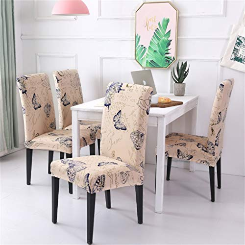 Estrend Stretch Spandex High Chair Slipcovers for Dining Room with Printed Patterns Set of 4 Butterfly ()