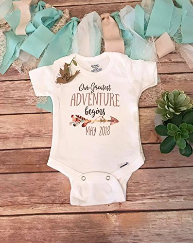 4aca80f81 Our Greatest Adventure Begins Pregnancy Announcement Onesie®, Pregnancy  Reveal to Parents, Adventure Onesie, Coming Soon Baby Announcement - Buy  Online in ...
