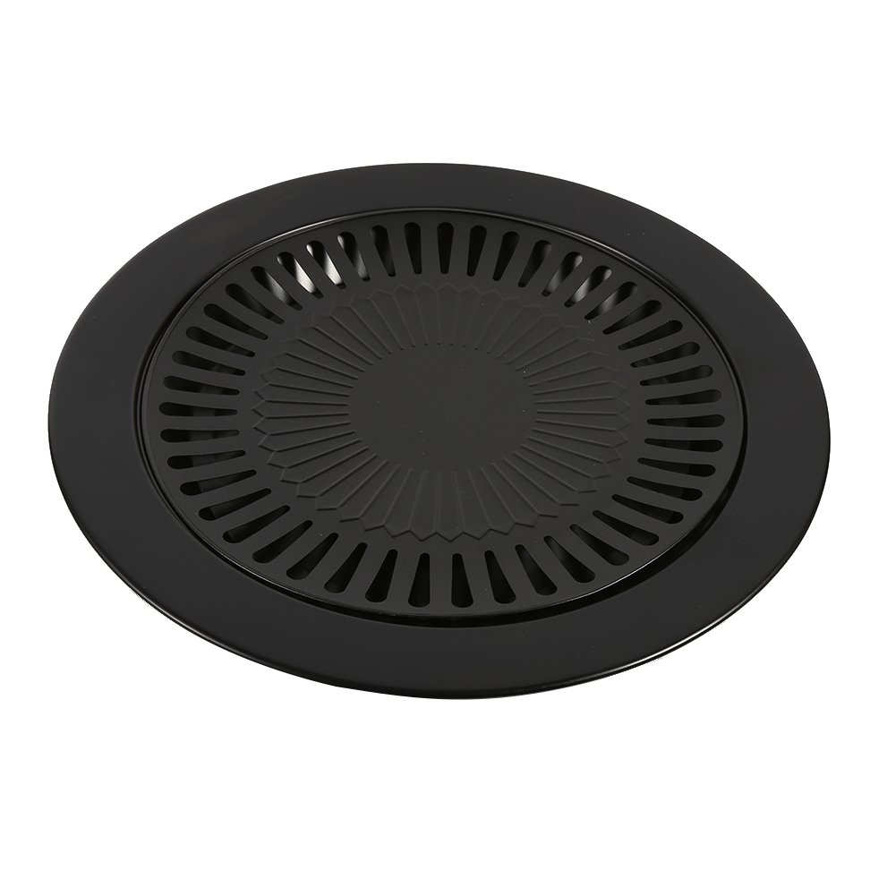 Fdit BBQ Grill Pan Non-Stick Classic Plate Cast Iron Grill Pan Dishwasher Safe Removable Drip Tray