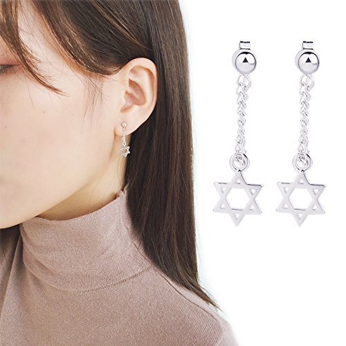 Silver Hexagram Dangle Stud Earring Star Tassel Ear Clip for Girls Summer Jewelry