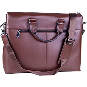 Amazon.com: Brown Leather Laptop Bag for Men or Women - for 10 ...