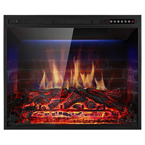 Xbeauty 28'' Electric Fireplace Insert Recessed in Wall Freestanding Heater w/Large Screen Multicolor Flames,Remote Control,750w/1500w,Black (Best Freestanding Electric Fireplace)