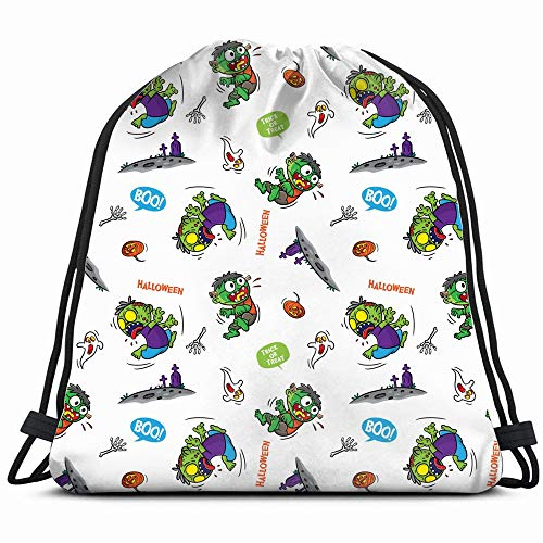Doodle Halloween Cartoon Zombie Holidays Art People Drawstring Backpack Bag For Kids Boys Girls Teens Birthday, Gift String Bag Gym Cinch Sack For School And Party -