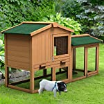 Tangkula Chicken Coop, Wooden Large Outdoor Poultry Cage (Such as Bunny/Rabbit/Hen) with Ventilation Door and Removable Tray & Ramp, 58'' Chicken Rabbit Hutch 15