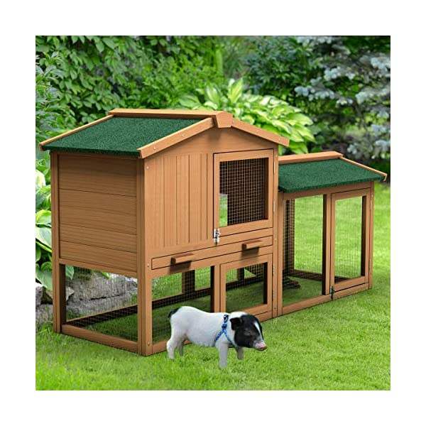 Tangkula Chicken Coop, Wooden Large Outdoor Poultry Cage (Such as Bunny/Rabbit/Hen) with Ventilation Door and Removable Tray & Ramp, 58'' Chicken Rabbit Hutch 5
