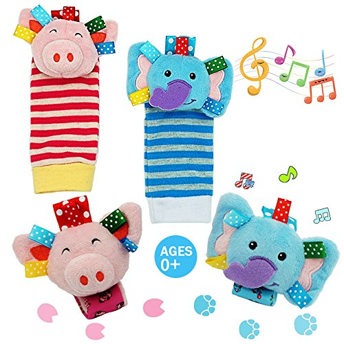 Daisy Baby Rattle Toy, Animal Wrists Rattle & Foot Finder Socks Toy Gift Set, Baby Foot Rattle Organic Cotton Socks for Infant and Toddler - Elephant and Pig (4 Pieces) by Daisy's Dream