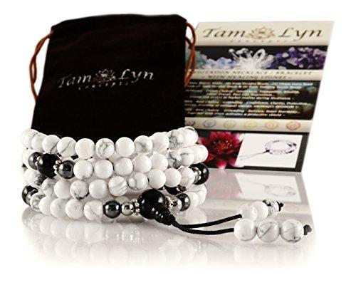 TamLyn Concepts Mala Beads Necklace - Yoga Jewelry - Buddha Bracelet - Meditation Beads - Tassel Necklace - Prayer Beads (howlite) ()