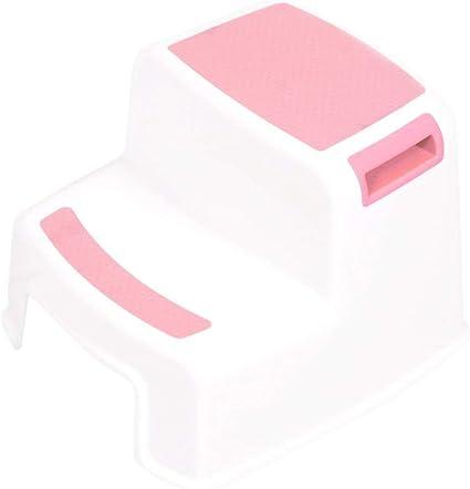 Taburete doble de 2 pasos Plástico 280 lbs para niños Escalera infantil antideslizante Aumento de pies antideslizantes para niños Taburete para baño - Rosa: Amazon.es: Oficina y papelería