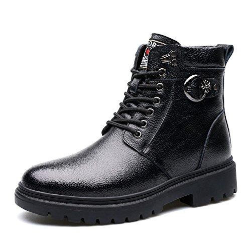LOVDRAM Stiefel Männer Winter Herren Stiefel Leder Herren Schneeschuhe Warme Schuhe Herren Dicke Mode Werkzeug Militär Stiefel Baumwolle Schuhe