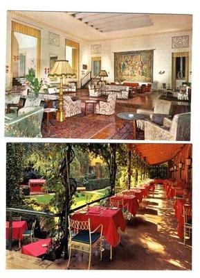 (2 Hotel Quirinale Postcards Rome Italy 1960's Interior Scenes )