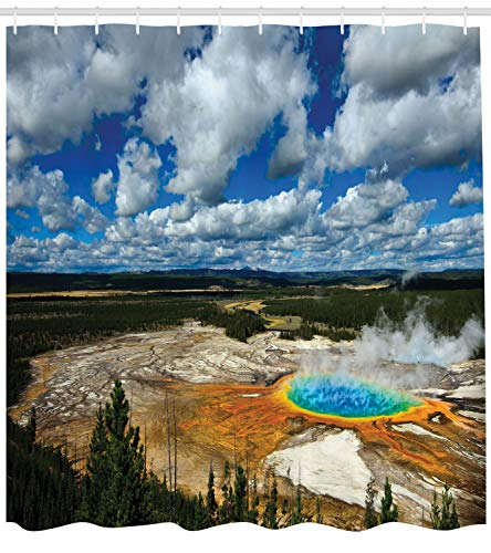 Lunarable Yellowstone Shower Curtain, Grand Prismatic Pool at Parkland with Fluffy Clouds and Blue Sky Nature Scenery, Cloth Fabric Bathroom Decor Set with Hooks, 105