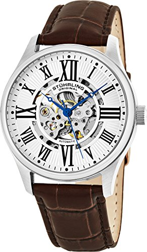 Stuhrling Original Men's 747.01 Atrium Automatic Skeleton Brown Leather Band Watch