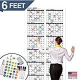 Large Dry Erase Wall Calendar - Undated Giant Reusable Yearly Calendar - Oversized Whiteboard Annual 12 Month Planner 2019-2020 - 72' x 36'