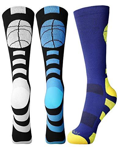 Basketball Socks Men Women Athletic Crew Socks with Basketball Logo, One Size, 3 Pairs