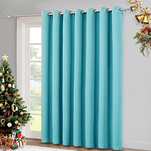 Sliding Glass Door Curtains - Patio Door Blinds, Luxury Home Blackout Curtains for Villa / Hall, Blinds for Bedroom by NICETOWN (Turquoise Blue, 100