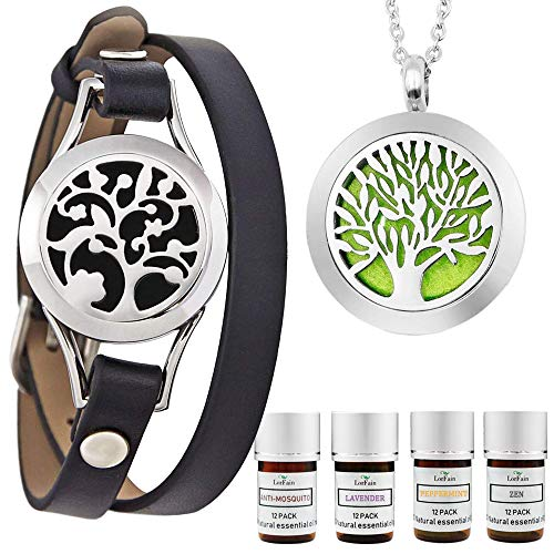 LorFain Essential Oil Bracelet and Necklace, Stainless Steel Aromatherapy Pendant Locket Bracelets Leather Band with 48 Pads in 4 Scents, Girls Women Jewelry Gift Set - Black ()