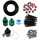 """MIXC 1/4-inch Drip Irrigation Kits Accessories Plant Watering System with 50ft 1/4"""" Blank Distribution Tubing Hose, 20pcs Dripers, 20pcs Barbed Fittings, Support Stakes, Quick Adapter, Model: GG0C"""