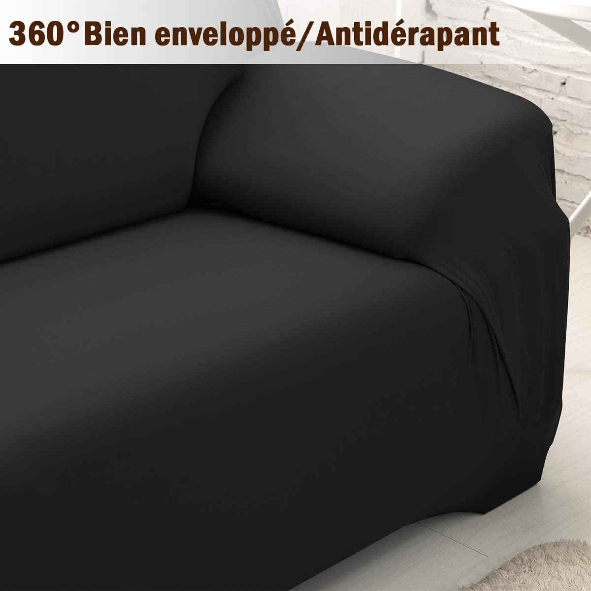 MultiWare Sofa Slipcover Easy fit Stretch Soft Couch Black Cover 2 Seater