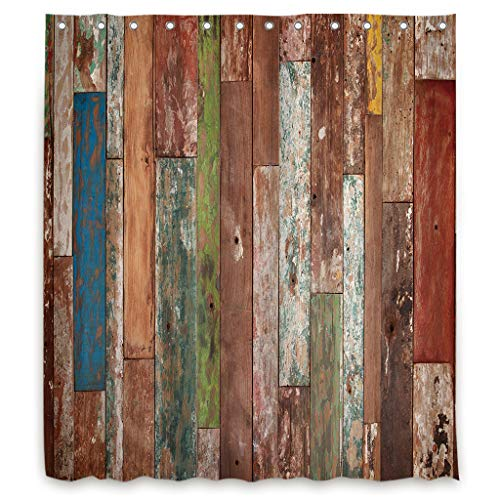 Riyidecor Antique Wooden Shower Curtain 72x96 Inch Metal Hooks 12 Pack Red Blue Grey Grunge Rustic Planks Barn House Wood and Lodge Hardwood Decor Fabric Bathroom Waterproof ()