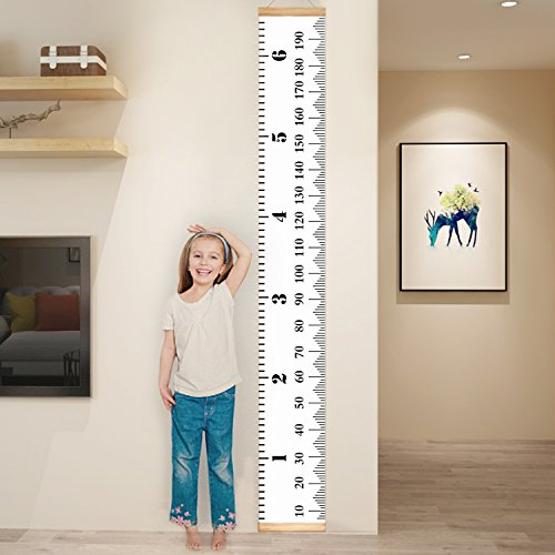 YESURPRISE Baby Growth Chart Handing Ruler Wall Decor for Children, Canvas Removable Roll Up Height Record Talltape for Kids Nursery Room (Hand Painted Wooden Growth Charts)