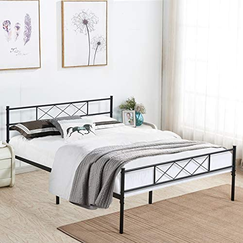 VECELO Metal Platform Bed Frame Mattress Foundation with Headboard Footboard Firm Support Easy Set up Structure, Queen, Black