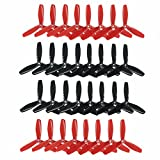 RAYCorp 5045 3-Blades (5x4.5x3) Propellers. 32 Pieces(16CW, 16CCW) Black & Red - Polycarbonate 5-inch Tri Blades Quadcopters & Mutlirotors Props + Battery Strap