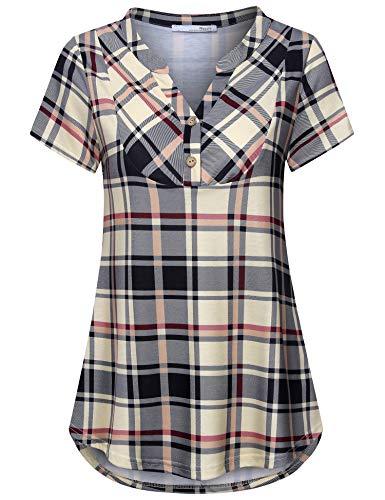 c35e191b Messic Womens V-Neck Short Sleeve Summer Plaid Shirts Casual Lightweight Tunic  Top
