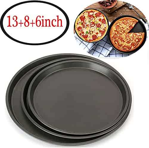 Jocab 3Pcs/Set Carbon Steel Nonstick Kitchenware Baking Pan Round Pizza Pan 13+8+6inch Pizza Tray Professional set for restaurant