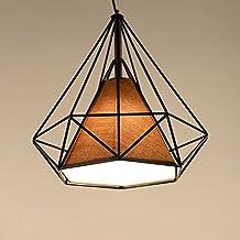 Bird Cage Rustic Loft Pyramid Lamp Style Edison Pendant Ceiling Light Chandelier,Industrial Retro Diamond Shape Hanging Ceiling Light for Kitchen Bar Bedroom Decor (25CM, Black + Brown Lamp Shade)