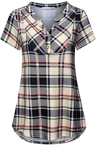 4935595f37d Messic Womens V-Neck Short Sleeve Summer Plaid Shirts Casual Lightweight  Tunic Top