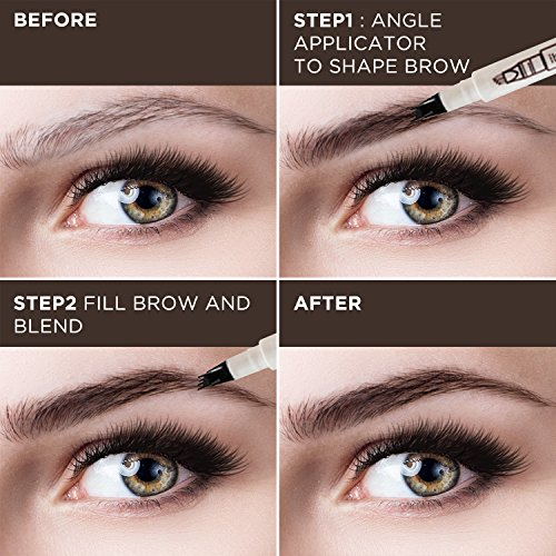 Tattoo Eyebrow Pen Waterproof Ink Gel Tint with Four Tips, Long Lasting Smudge-Proof Natural Hair-Like Defined Brows All Day (Chestnut) by AsaVea (Image #3)