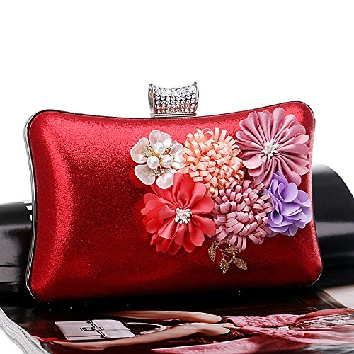 Bags Leaf Wedding For Red Party Appliques KYS Beaded Girl's Fashion Bag Color Evening Lady Fower Candy Evening Day Clutches qxRTw0X4