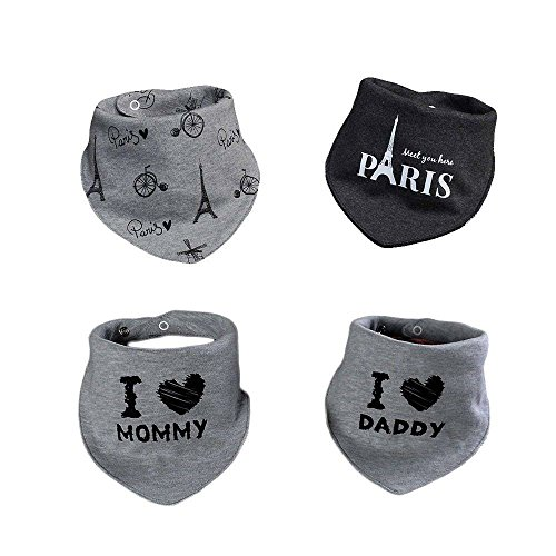 Newborn Baby Unisex Bandana Drool Funny Cartoon Bibs with Snaps, 2-Pack Organic Absorbent Cotton Drooling for Toddlers Girls Boys (Tower/Gray)