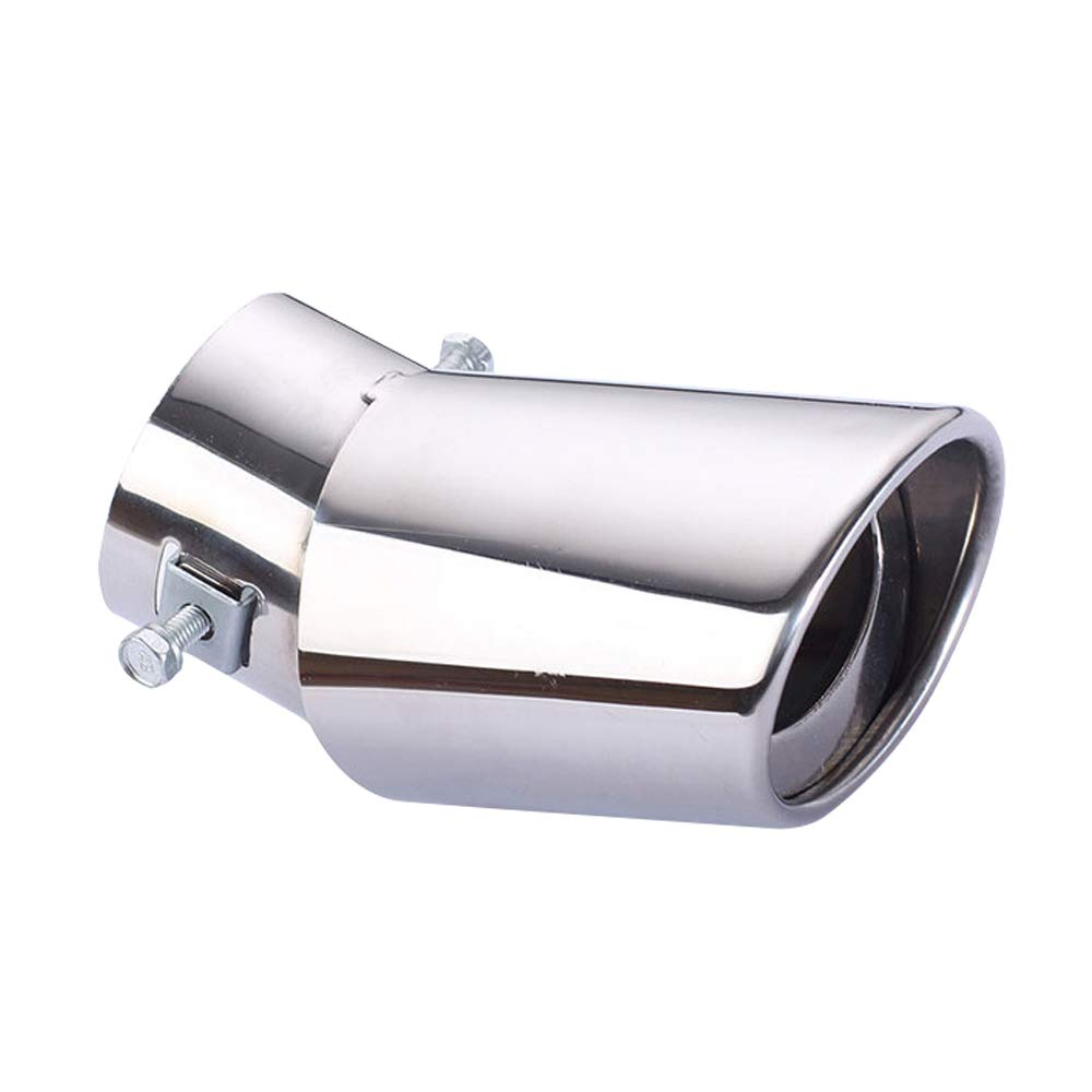 KKmoon Universal Exhaust Tailpipe Bending Single Tube Silver Car Exhaust Muffler Vehicle Steel Tail Pipe Auto Refitting Accessory