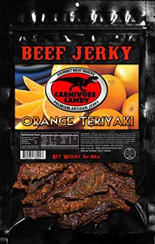 (Carnivore Candy Gourmet Beef Jerky -3 Pack (Three 3oz Bags) Orange Teriyaki Seen on Shark Tank-20+ Flavors!!)